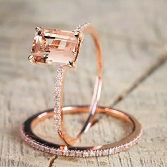Morganite Wedding Set.Rose Gold Emerald Cut Morganite Wedding Ring Set Boutique